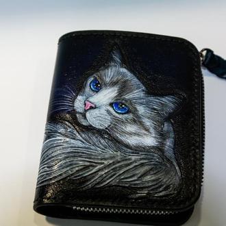 Кожаный кошелек ′Кошка′