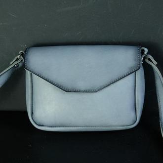 Кожаная сумка, сумочка Лилу, кожа итальянский краст, цвет Серо-голубой