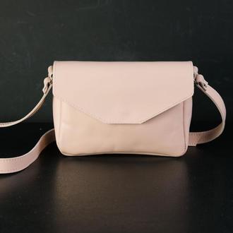 Кожаная сумка, сумочка Лилу, гладкая кожа, цвет Пудра