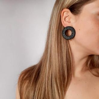 Супер стильные серьги - гвоздики в форме кольца. Женские серьги. Подарок.