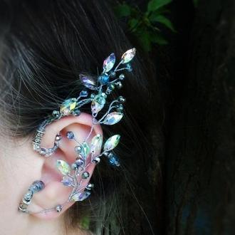 Росток радужный- каффы эльф накладные уши ушки, фэнтези, бесплатная доставка