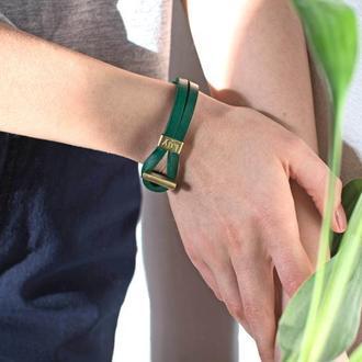 Кожаный браслет LUY N.6 цвет зеленый. Браслет из натуральной кожи