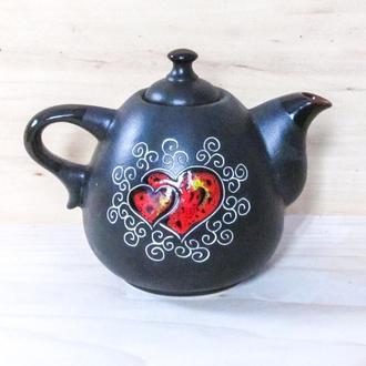 """Чайник Крапля 800 мл. декор """"Серце"""" чорний"""