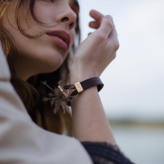Кожаный браслет LUY N.6 цвет коричневый. Браслет из натуральной кожи