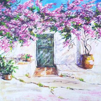 Картина уютная Греческий дворик 30*30 см