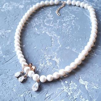 Комплект з натуральних перлів у позолоті намисто та сережки колье и серьги из натурального жемчуга