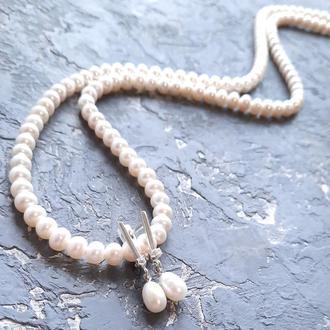 Комплект из натурального жемчуга в серебре ожерелье и серьги комплект украшений из жемчуга колье серьги