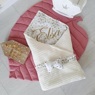 Одеяло-конверт для новорожденного White knit