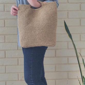 Вязанная эко сумка шоппер из джутовой нити