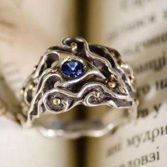 серебрянное кольцо с сапфиром