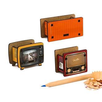 Набор точилок для карандашей (3шт) (Ретро ТВ, Контейнер, Винтажное Радио)