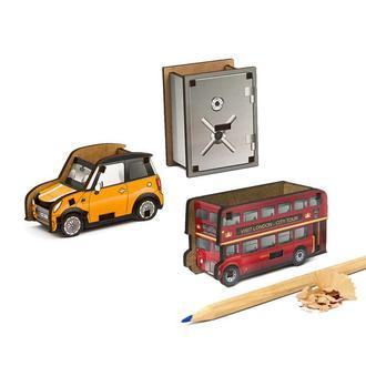 Набор точилок для карандашей (3шт) (Автомобиль, Сейф, Лондонский Автобус)