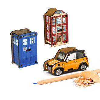 Набор точилок для карандашей (3шт) (Полицейская Будка, Лондонский Дом, Автомобиль)