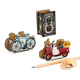 Набор точилок для карандашей (3шт) (Велосипед, Фотокамера, Скутер)