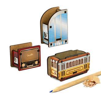 Набор точилок для карандашей (3шт) (Винтажное Радио, Бизнес Центр, Ретро Трамвай)