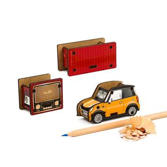 Набор точилок для карандашей (3шт) (Винтажное Радио, Контейнер, Автомобиль)