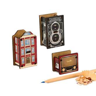 Набор точилок для карандашей (3шт) (Лондонский Дом, Фотокамера, Винтажное Радио)