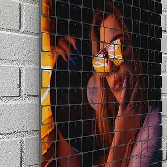 """Картина из пайеток Wall Decor """"Девушка с винилом"""" 48х60 см"""