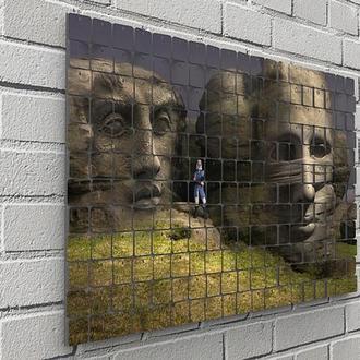 "Картина из пайеток Wall Decor ""Каменные лица"" 76х48 см"