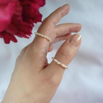 Кольцо с жемчугом, кольцо с натуральным жемчугом, речной жемчуг, подарок, белое кольцо