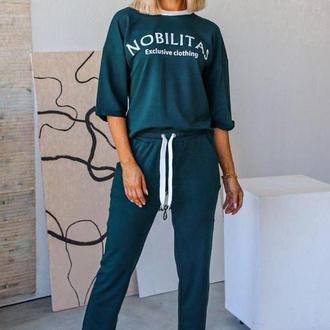 Спортивный костюм женский nobilitas 42 - 52 зеленый трикотаж (арт. 20027)