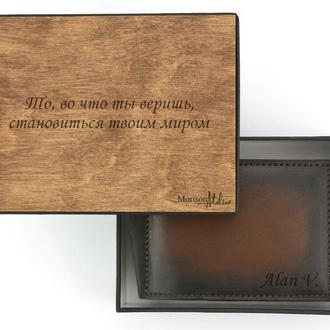 Кожаный зажим для купюр, кожаный зажим для денег, Подарок мужу, Подарок мужчине именной зажим