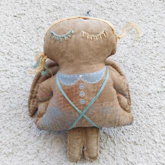 Нежная кофейно-текстильная девочка-ангел