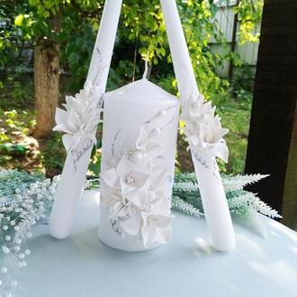 """Свадебные свечи семейный очаг """" Белые лилии с серебром"""""""
