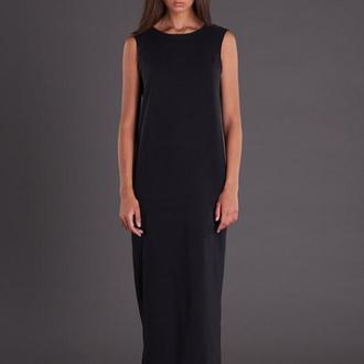 Черное платье со вставками