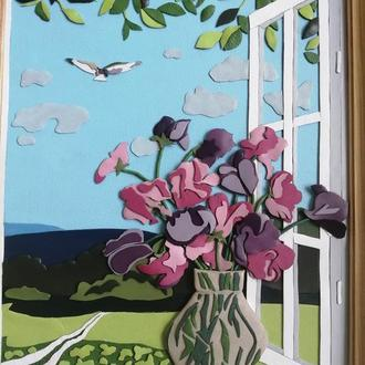 "Картина из кожи ""Цветы на окне"""