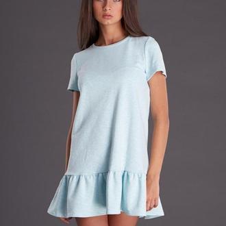 Мятное трикотажное платье