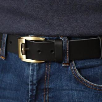 Стильный кожаный ремень _мужской черный классический ремень из натуральной кожи