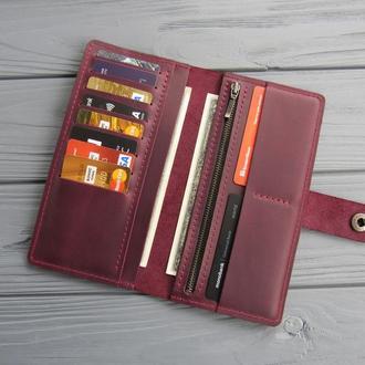 Кожаный женский кошелек на 10 карт Zarina_вместительный бордовый  кожаный кошелек