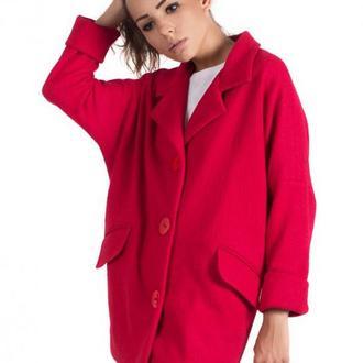 Красное пальто oversize