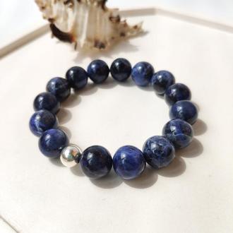 Браслет из темно-синего натурального содалита с серебряной бусиной, Браслет на подарок