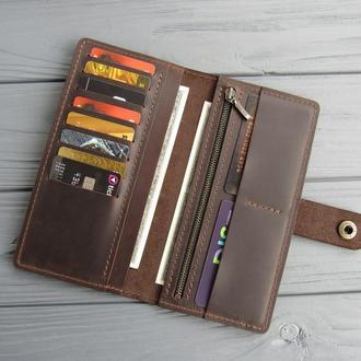 Мужской кожаный кошелек на 10 карт_большое мужское кожаное портмоне