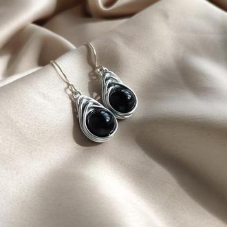 Серьги на серебряном крючке с турмалином шерл, Серьги с черным камнем