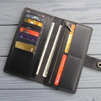 Черный мужской кошелек-клатч из винтажной кожи_вертикальное кожаное портмоне