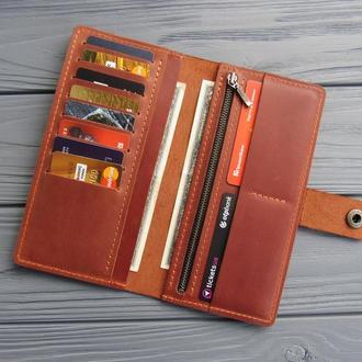 Вместительный кожаный кошелек Zarina_коричневый кошелек-клатч
