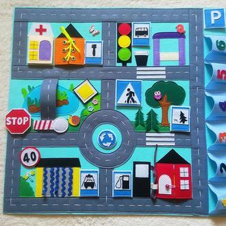 Игровой коврик развивающая книга из фетра книжка з фетру