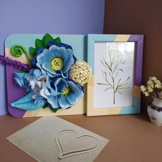 Деревянная фоторамка расписана вручную с декоративным панно, подарок на новоселье, свадьбу