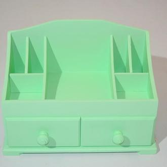 Комод для косметики на 4 ящика цвет капучино. Органайзер для косметики. Комодик для косметики.