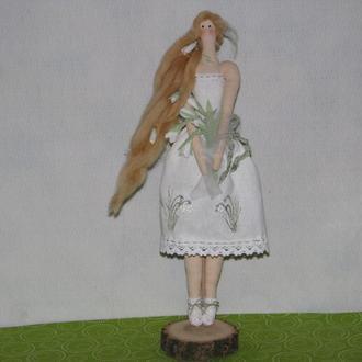 Интерьерная кукла тильда Весна Подснежинка