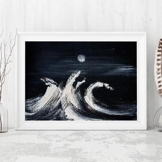 Нічні хвилі (картина масло/оргаліт) 15х20 см