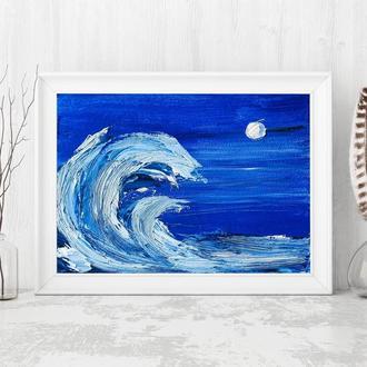 Синий океан (картина масло/оргалит) 15х20 см