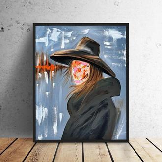 Девушка в шляпе (картина масло/холст) 50х60х1 см