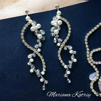Сережки для нареченої, свадебные Серги, сережки-цвяшки