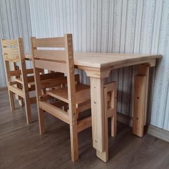 Растущие деревянные детские столы и стулья без покрытия