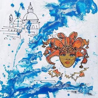 Акрилова картина 40х50 Картина Венеція оригінал Абстракціонізм Карнавальна маска