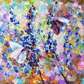 """Картина маслом """"В голубых травах""""  50х70 см цветы живопись маслом"""
